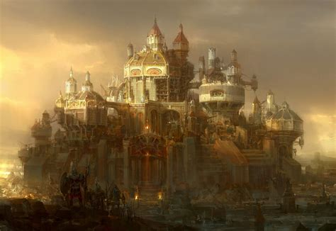 golden village wallpaper fantastic world fantasy cities sci fi steunk castle
