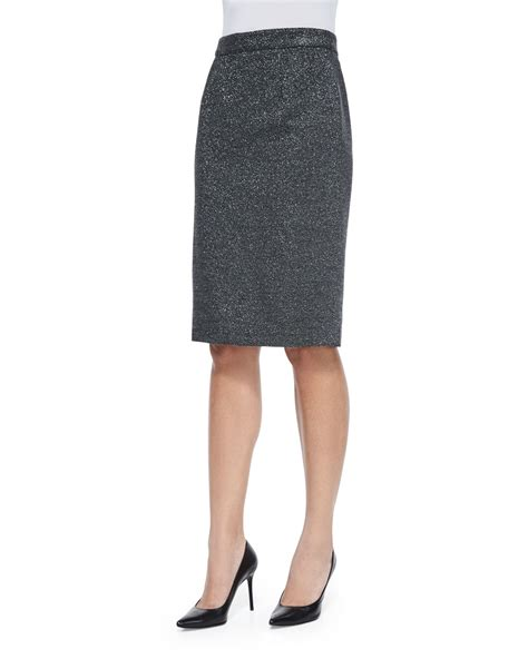 escada metallic pencil skirt in gray anthracite lyst