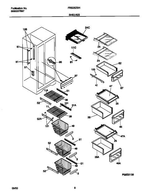 frigidaire refrigerator parts diagram shelves diagram parts list for model frs26zshb3
