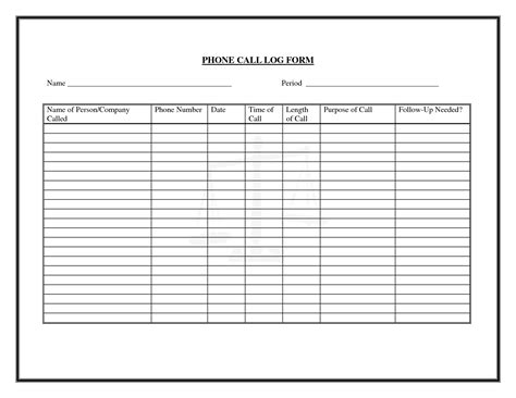 5 phone log template outline templates