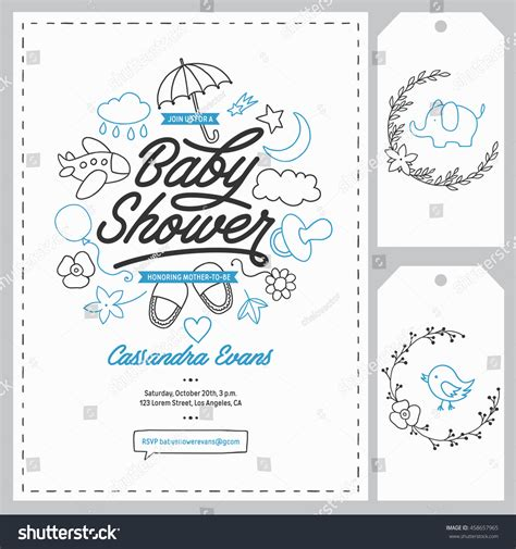 Baby Shower Invitation Templates Set Floral Stock Vector 458657965 Shutterstock Baby Shower Design Templates