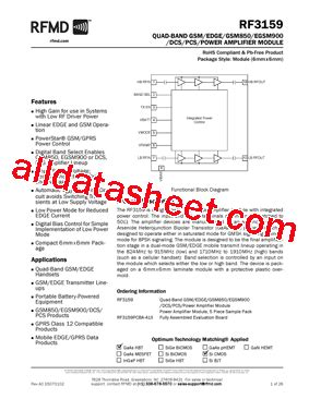 datasheet of rf diode rf3159 datasheet pdf rf micro devices