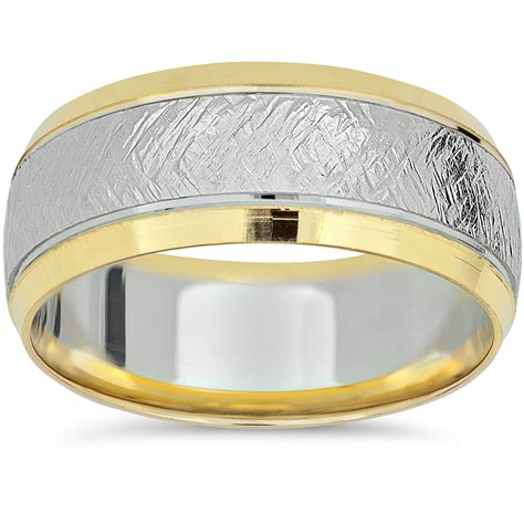 yellow gold  tone wedding band mens mm white gold
