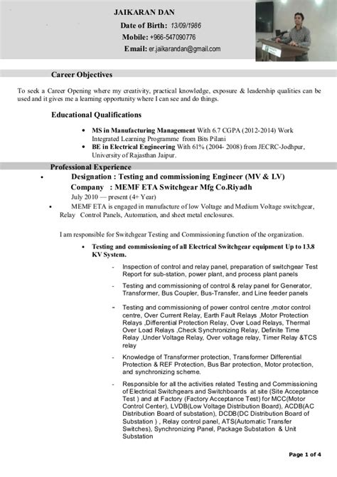 Sle Resume For Electrical Commissioning Technician Jaikaran Dan Testing And Commissioning Engineer