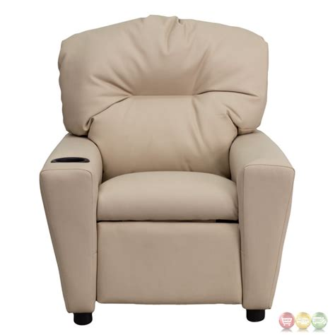 Recliner With Cupholder by Beige Vinyl Recliner With Cup Holder Bt