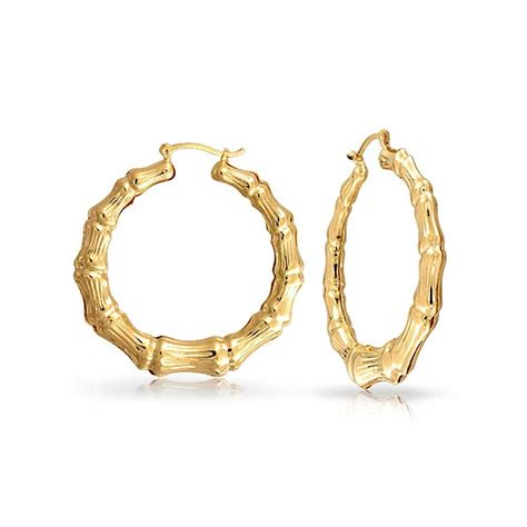 Hoop Earring bamboo 14k gold filled hoop earrings