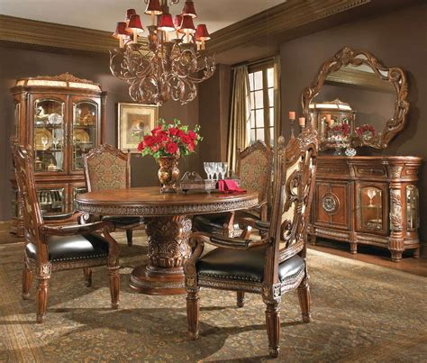 aico dining room furniture michael amini villa valencia chestnut traditional round