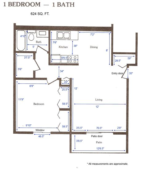 1 Bedroom Apartment Layout | cedar green apartments apartment layouts