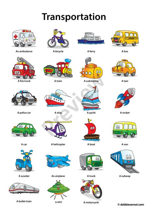 printable flashcards esl debbie sensei free esl transportation flashcards