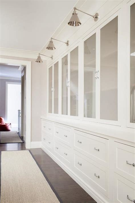 Hallway Built In Cabinets with Barn Wood Floors   Cottage