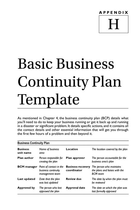 free template for business continuity plan psycho