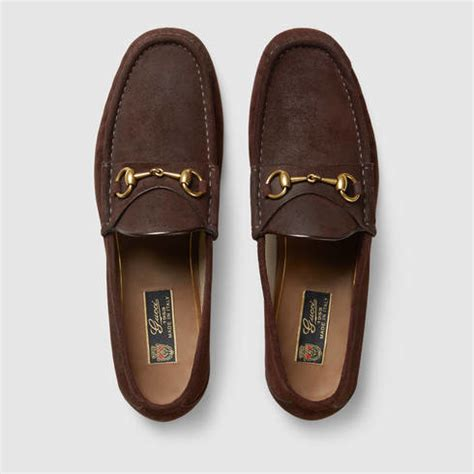 brown suede gucci loafers lyst gucci 1953 horsebit suede loafer in brown for