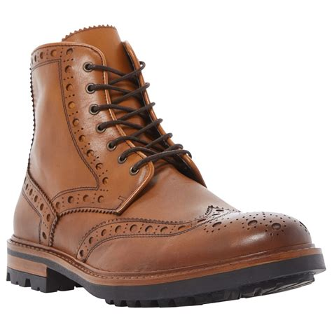 mens bertie boots bertie cyrus leather lace up brogue boots in brown for