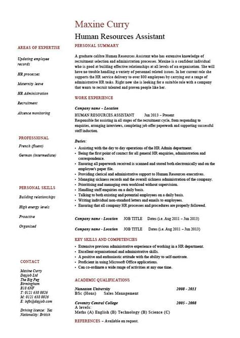 Resume Sles For Human Resources Human Resources Assistant Resume Hr Exle Sle Employment Work Duties Cover Letter