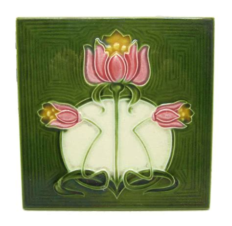 flower wall tiles green tile with pink flowers olde good things