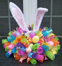 easter centerpiece centerpieces eggs and mesh ribbon
