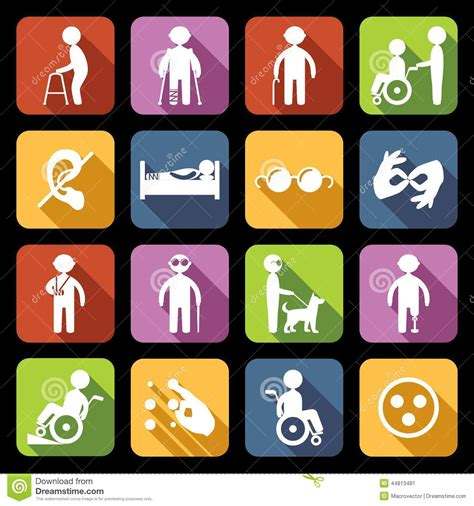 Phone For Blind And Deaf Disabled Icons Set Flat Stock Vector Image 44813481