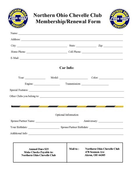 club membership template northern ohio chevelles club chevelles friends family