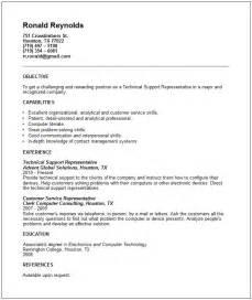 technical support representative resume exle free