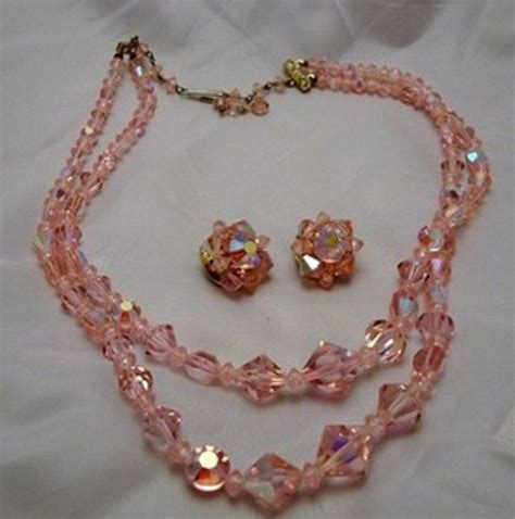 pink necklace earrings set vintage costume jewelry