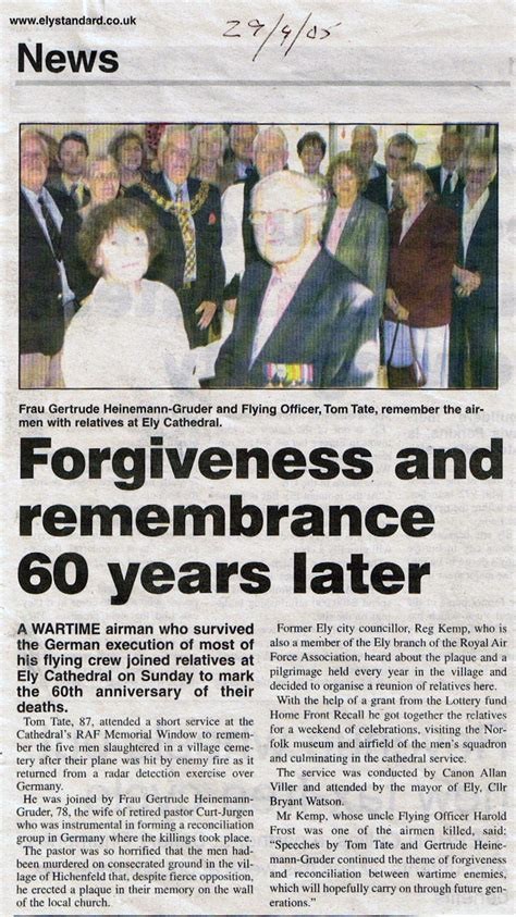 A Ceremony Of Losses newspaper clipping of rememberance ceremony at ely cathedral