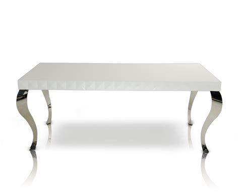 Metal Dining Room Tables mia modern white lacquer dining table