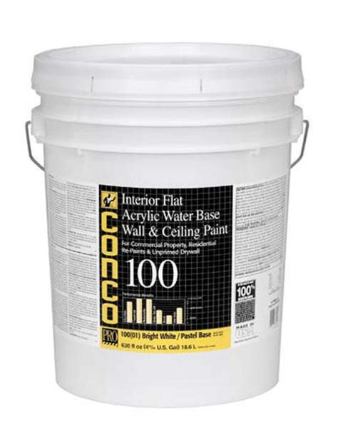 conco 100 flat water based interior acrylic wall ceiling paint 5 gal at menards 174
