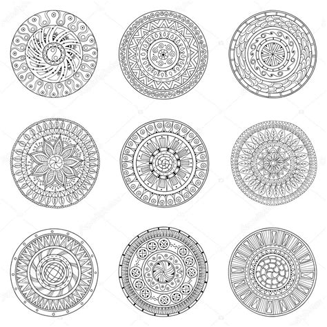 black and white round pattern set of hand drawn circles vector logo design elements