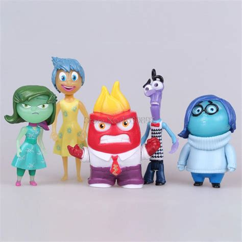 Inside Out Figurines With Base 6 Pcs Set 6pcs lot inside out pvc figure toys anger disgust sadness fear figures boys