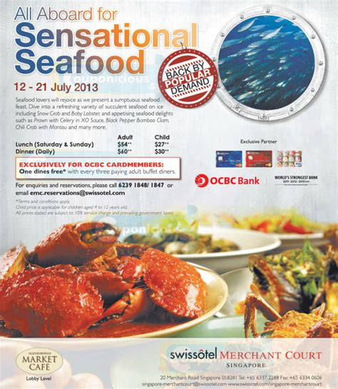 Swissotel Ocbc 1 Dine Free With 3 Paying Adult Buffet Seafood Buffet Coupon