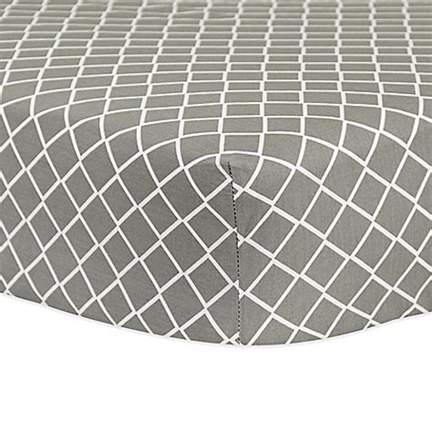 grey patterned fitted sheet trend lab 174 diamond fitted crib sheet in grey buybuy baby