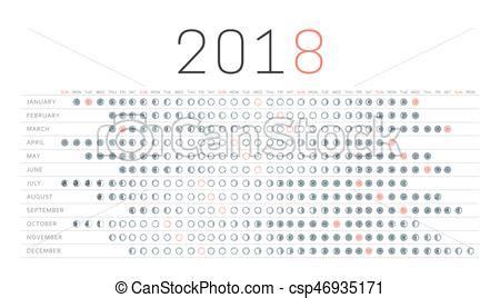 Calendario C Lua 2018 Calend 225 Lua Fases Lua Days Lunar