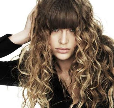 long hairstyles with bangs curly 30 best curly hair with bangs hairstyles haircuts 2016