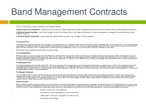 Music Business Artist Management Contracts Entertainment Manager Contract Template