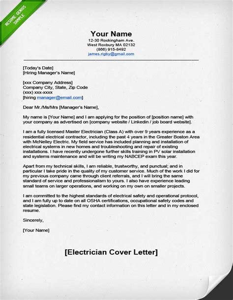 Class Cover Letter Professional Electrician Cover Letter Resume Genius