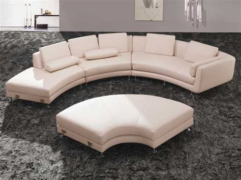 Exquisite Glamorous Round Sectional Sofa Bed Curved Curved Leather Sofas For Sale