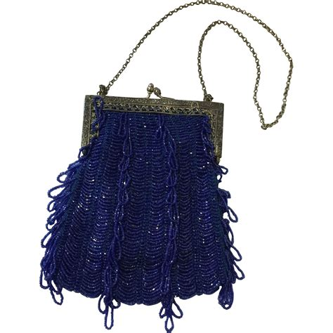 vintage blue beaded flapper purse