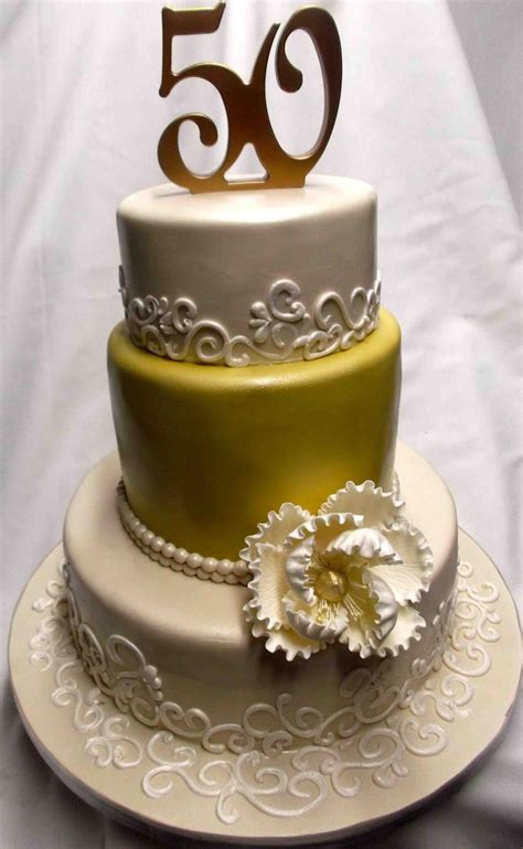 Thanksgiving Home Decorating Ideas by Gold And Elegant 50th Anniversary Cake Decoration Idea