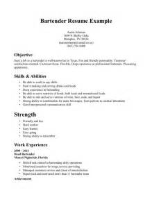 Sle Resume For Bartender by Bartender Resume Objective Thebridgesummit Co