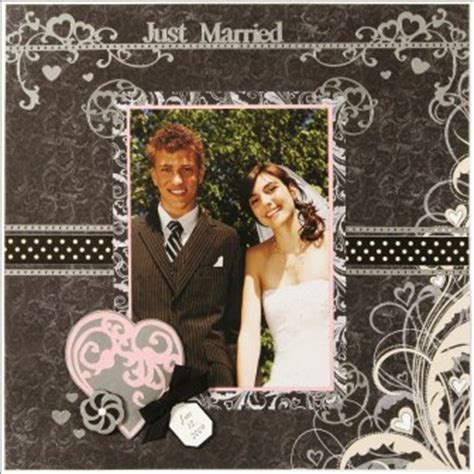 Just Married Scrapbook Layout from Paper Wishes