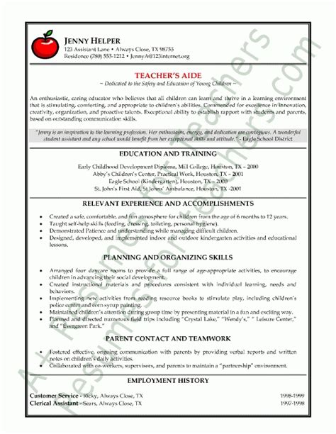 assistant teacher resume exles best resume collection