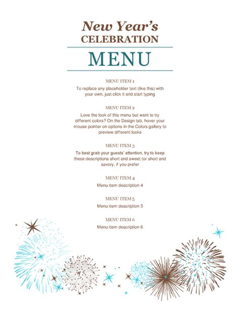 free new year menu template new year s menu office templates
