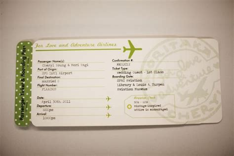 Plane Ticket Invitations Passport Programs And Luggage Tag Escort Cards All Plane Ticket Wedding Invitation Template Free