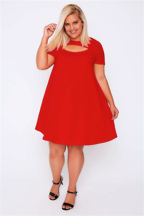 short swing dress red short sleeved swing dress with cut out detail plus