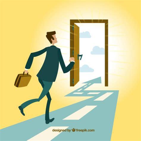 runs out front door businessman running to the exit door vector free