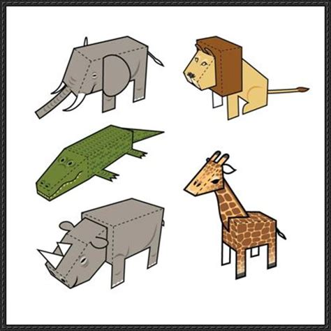 Papercraft Animals Free - 5 animal paper toys free templates