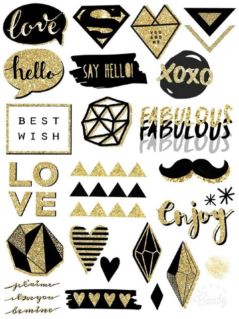 printable gold stickers free printable black and gold stickers planners bullet