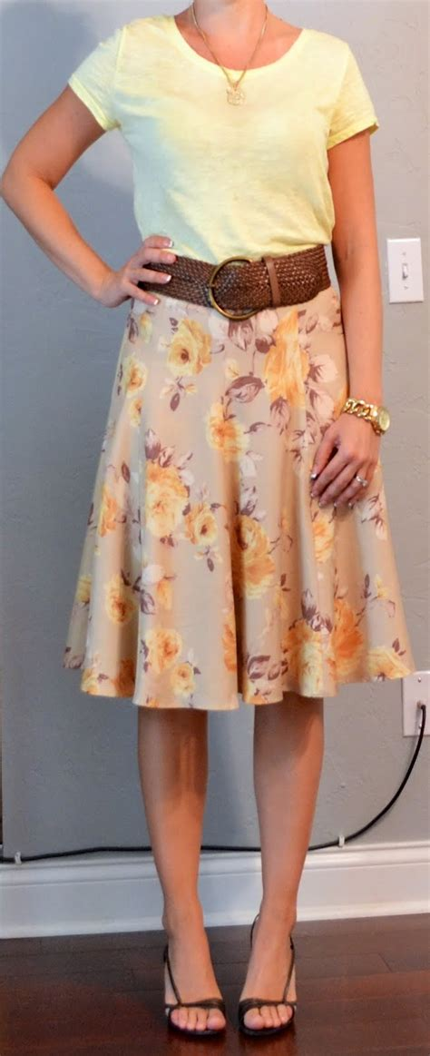 outfit posts yellow  shirt floral skirt wide brown belt
