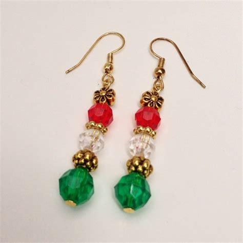 white green beaded dangling earrings gold spacer