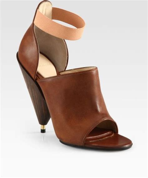 wooden heeled sandals givenchy leather wooden heel sandals in brown lyst